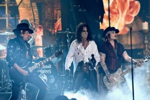 LOS ANGELES, CA - FEBRUARY 15: (L-R) Musician Joe Perry, singer Alice Cooper and actor/musician Johnny Depp of Hollywood Vampires perform onstage during The 58th GRAMMY Awards at Staples Center on February 15, 2016 in Los Angeles, California. (Photo by Kevork Djansezian/Getty Images)