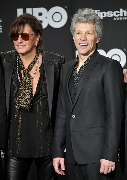 CLEVELAND, OH - APRIL 14:  Inductees Richie Sambora and Jon Bon Jovi of Bon Jovi attends the 33rd Annual Rock & Roll Hall of Fame Induction Ceremony at Public Auditorium on April 14, 2018 in Cleveland, Ohio.  (Photo by Mike Coppola/Getty Images For The Rock and Roll Hall of Fame)