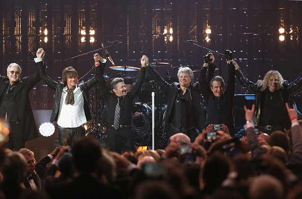 CLEVELAND, OH - APRIL 14:  Bon Jovi performs during the 33rd Annual Rock & Roll Hall of Fame Induction Ceremony at Public Auditorium on April 14, 2018 in Cleveland, Ohio.  (Photo by Kevin Kane/Getty Images For The Rock and Roll Hall of Fame)