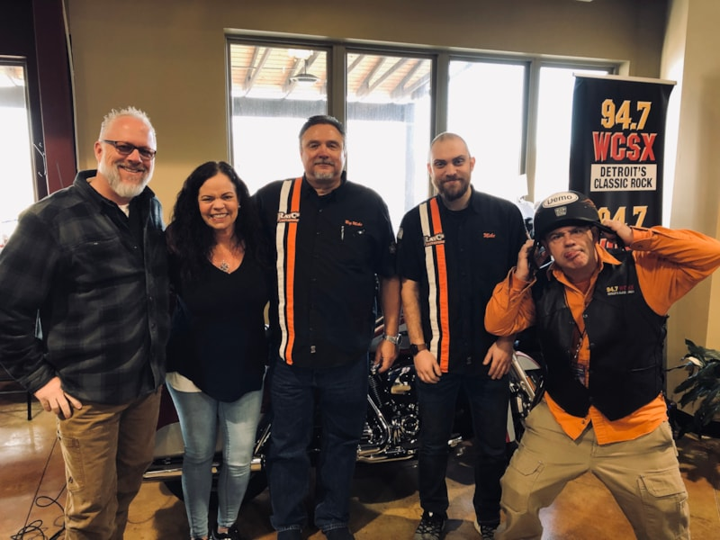 """Joel """"the Harley Dude"""" Morgan with some fellow bikers at Ray C's Harley Davidson"""
