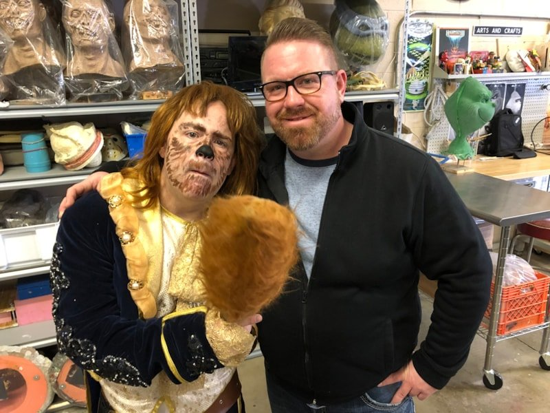Joel making friends with Casey the owner over at the Prop Shop in Port Huron