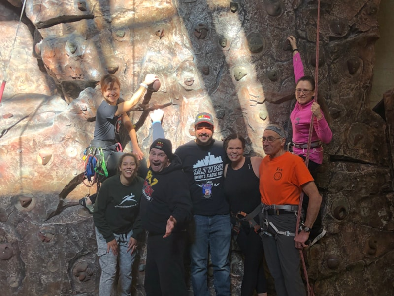 Climbing the rock wall with our friends at The Ford Community Center