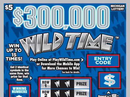 Michigan Lottery chance to win: $300,000 Wild Time $5 Instant Game